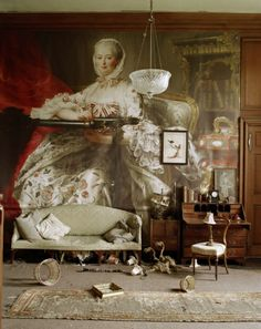 Tim Walker. 'Madame Pompadour'. Francois-Hubert Drouais, Madame de Pompadour at her Tambour Frane, 1763-4. Glemham Hall. Suffolk, UK. 2010. W Magazine. copyright Tim Walker 2011
