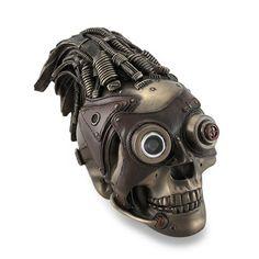 Bronzed Steampunk Skull Sculptural Industrial Statue