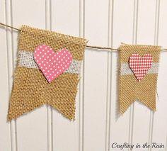 DIY Burlap Valentine's Banner DIY Burlap DIY Crafts