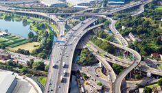 The Gravelly Hill Interchange, where the motorway meets the Aston Expressway, is the original Spaghetti Junction. Birmingham England, Bridge Design, West Midlands, British Isles, Great Britain, Paths, Youtube, Around The Worlds, City