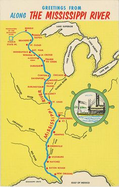 Vintage chrome state map greetings postcard showing towns and cities along the Mississippi River from its headwaters in Minnesota to New Orleans & Gulf of Mexico.
