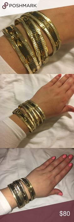 Arab Style Bangles From Dubai🤑 These are in good condition, the last picture shows how the inside of the bangles are gently scratched from wear, they look good from the outside! Jewelry Bracelets