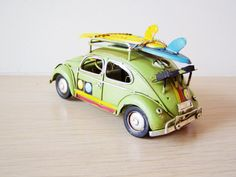 Beetle car with two surfboards metal retro by AkatosCollectibles