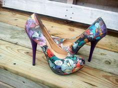 Joker and Harley Quinn - Comic Book Shoes - Comic Book Heels