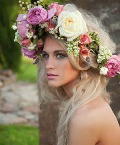 Flower garland for bridesmaids ... Haha!