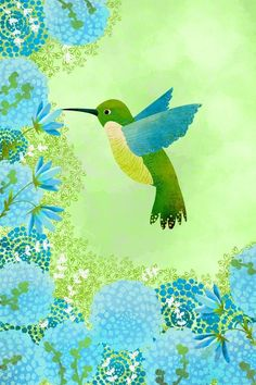 Bird Art Print - Hummingbird 2 Small Print - Nursery art prints, baby nursery, nursery decor, nursery wall art, kids art. $8.00, via Etsy.