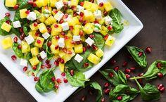 Melonensalat mit Granatapfel und Feta melon salad with pomegranate and feta Rezept/recipe: http://bellybuffy.com/melone-melon/