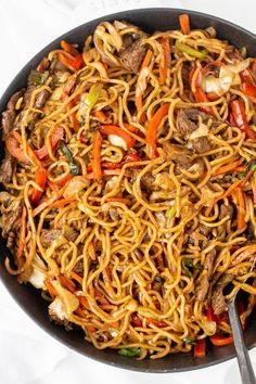 This Yakisoba can be quickly prepared at home with easy step by step instructions. It cooks in under 30 minutes and reheats well. Yakisoba: 焼きそば [jakiꜜsoba]), is a classic Japanese street food that is cooked on a large iron grill. Yakisoba consists of the Veggie Yakisoba Recipe, Yakisoba Noodles Recipe, Stir Fry Recipes, Noodle Recipes, Cooking Recipes, Vegetarian Recipes, Beef Recipes, Cooking Games, Chinese Recipes