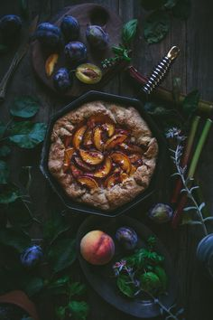 Stone Fruit Skillet Pie with basil blossoms + A Finex Cast Iron Giveaway