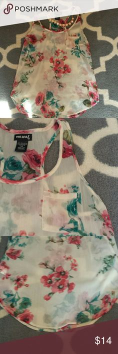 Floral, racerback, sheer top Beautiful pink and teal floral sheer top. Scalloped bottom in back and front. Tops