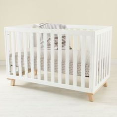 Low-Rise Crib (White Frame with Maple Base)