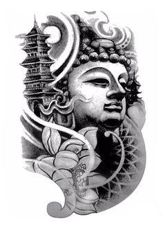 Large Black Temporary Buddha Tattoo