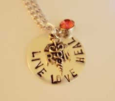 RN Nurse Necklace. Live-Love-Heal Stamped Jewelry. On Etsy
