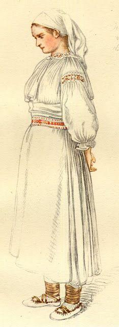 old drawing of the costume of the  village of Valaská Belá, Slovakia