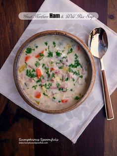 Stovetop ham soup is a hearty dinner and great use for leftover ham. Full of healthy fiber from white beans and whole grain wild rice. Here's the recipe! Supper Recipes, Easy Dinner Recipes, Yummy Recipes, Soup Recipes, Dinner Ideas, Ham Soup, Chili Soup, Easy Meals For Kids, Easy Family Meals