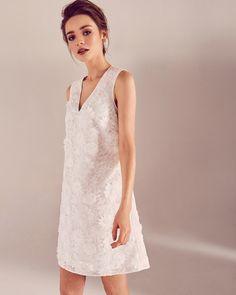 6cb4e487b Lace appliqué V-neck dress - White