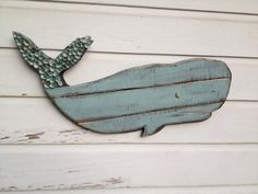 Whale Art/Wooden Whale/Beach House Wall Art/Preppy Whale Art ~ by My Honeypickles