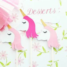 Sweet Unicorn Cupcake Toppers, perfect for your Unicorn themed event!