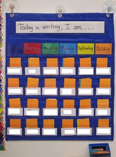 (Interesting idea....will quickly tell me what each child is doing). Writing Workshop