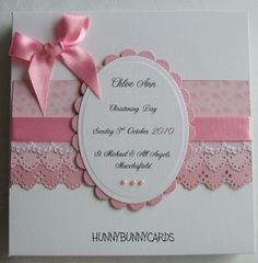 Handmade Christening Card with layers of papers.