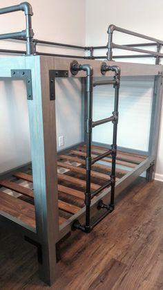 Bunk Bed Rail, Bunk Bed Ladder, Wood Bunk Beds, Bed Rails, Loft Railing, Pipe Railing, Railings, Industrial Boys Rooms, Camper Bunk Beds