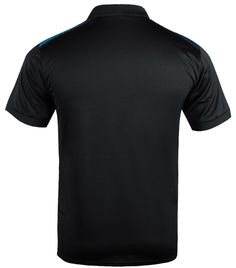 Quickdry Polyester jersey. Dry, moisture wicking properties with stretch. Cross logo on left chest. Stylish slant stripe design on front. Solid back. Ribbed collar and cuffs.