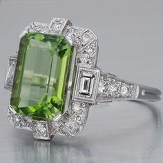 Art Deco Peridot Diamond Ring