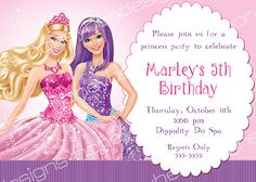 Barbie Princess Popstar Birthday Party Invitations Personalized Printable 5x7 on eBay!