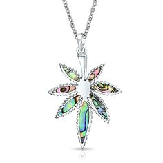 21f597c4bc0 Bling Jewelry Abalone Shell Marijuana Leaf Pendant Sterling Silver Necklace  18 Inches     You can find out more details at the link of the  image-affiliate ...