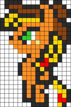 MLP Pixle Apple Jack Perler Bead Pattern / Bead Sprite
