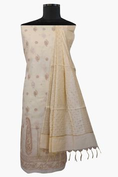 Ada #handembroidered #fawn  #cotton #lucknowi #chikankari  Unstitched Suit Piece – A469785