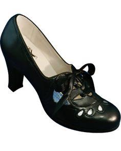 Aris Allen Women's Black & Silver Oxford Suede Sole Swing Shoes