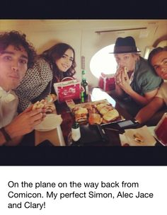 Cassandra Clare's image of her cast of The Mortal Instruments: City of Bones movie. This is such a great photo, on the Sony Plane from Comic Con 2013 #SDCC #SDCC2013 (7/19/2013) Robert Sheehan (to play Simon Lewis), Lily Collins (to play Clary Fray), Jamie Campbell Bower (to play Jace Wayland), and Kevin Zegers (to play Alec Lightwood). Just wish Jemima was there.