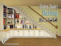 Wrap understairs shelving onto adjacent wall for fabulous builtin