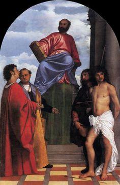 Titian (TIZIANO Vecellio) -  Mark Enthroned with Saints  1510  Oil on canvas, 230 x 149 cm  Santa Maria della Salute, Venice