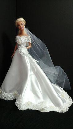 Barbie Bridal, Barbie Wedding Dress, Wedding Doll, Diy Wedding Dress, Barbie Gowns, Wedding Dress Patterns, Doll Clothes Barbie, Barbie Dress, Bridal Dresses