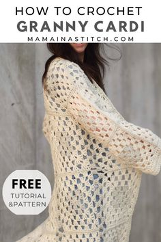 Granny Square Cardigan Free Crochet Pattern : This is such a trendy, cute crochet pattern! Made with basic granny squares, it's super easy and I love the neutral colors! You'll find the free pattern as well as pictures to help show you how to make it. Granny Square Sweater, Sunburst Granny Square, Granny Square Bag, Granny Squares, Crochet Wool, Crochet Granny, Cute Crochet, Crochet Sweaters, Crochet Cardigan Pattern