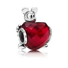 PANDORA - Disney, Mickey Love Heart Charm, Fuchsia Rose Crystal