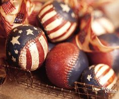 Cool Fourth of July decoration using painted baseballs :) stars look hand painted.  I would just add star stickers and paint over with blue paint then peel stars off when paint dries.