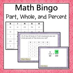 Part, Whole, and Percent Word Problems Bingo.  All problems feature  percents up to 100. Every problem is one step. Geared for 6th grade, but  will also work for students in older grades who need a review. ** Now includes an online version of the questions that is chromebook compatible***