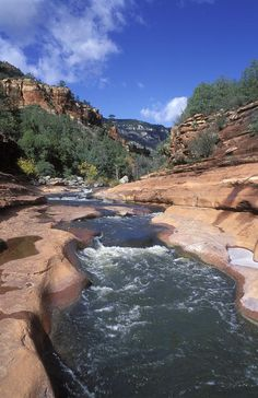 Slide Rock State Park, Sedona, AZ - a slippery natural water slide that formed in the sandstone of the Oak Creek Canyon - water temperature in the summer averages I lived in Arizona, and went here. Arizona Travel, Sedona Arizona, Oak Creek Canyon Arizona, Places To Travel, Places To See, Grand Canyon, Half Moon Bay, Plein Air, Tucson