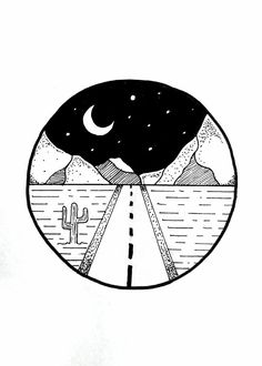 Simple little Sunset, mountain, camping doodles / pen art Cute Easy Drawings, Cool Art Drawings, Pencil Art Drawings, Art Drawings Sketches, Doodle Drawings, Drawing Ideas, Drawing Tips, Road Drawing, Tattoo Sketches
