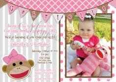 Girl Pink Sock Monkey Invitation #Sock Monkey #Girl Sock Monkey #Monkey #Pink $15 DIY Printable