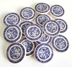 Willow pattern plate buttons 3/4
