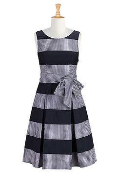 Gingham Check Cotton Dresses, Colorblock Dresses Plus Size Shop women's fashion design - Prom Dresses - Designer Prom Dress - Inexpensive Prom Dresses | eShakti.com