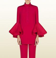 chemise tunique en soie rose azalée avec manches à  ...
