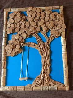 Cork art tree with swing – Romina D. Cork art tree with swing Cork art tree with swing Wine Craft, Wine Cork Crafts, Wine Bottle Crafts, Crafts For 3 Year Olds, Arts And Crafts For Teens, Wine Cork Projects, Craft Projects, Craft Ideas, Champagne Cork Crafts