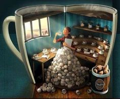 Coffee Obsession - Illustration by Mat Landour Coffee Girl, I Love Coffee, Coffee Break, My Coffee, Morning Coffee, Coffee Mugs, Coffee Cafe, Coffee Humor, Coffee Quotes