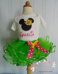 Minnie Mouse Luau Smash Cake outfit 1st by ASweetCelebration