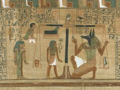 The Weighing of the Heart Ceremony 'Book of the Dead', Papyrus of Ani (sheet Ani's Judgment: the scene is the Hall of Judgment. Centrally placed is a balance, holding in its two pans Ani's heart (on the left) and a feather (on the right). Egypt Museum, Life Size Statues, Book Of The Dead, Valley Of The Kings, Giza, Gods And Goddesses, British Museum, Ancient Egypt, Archaeology